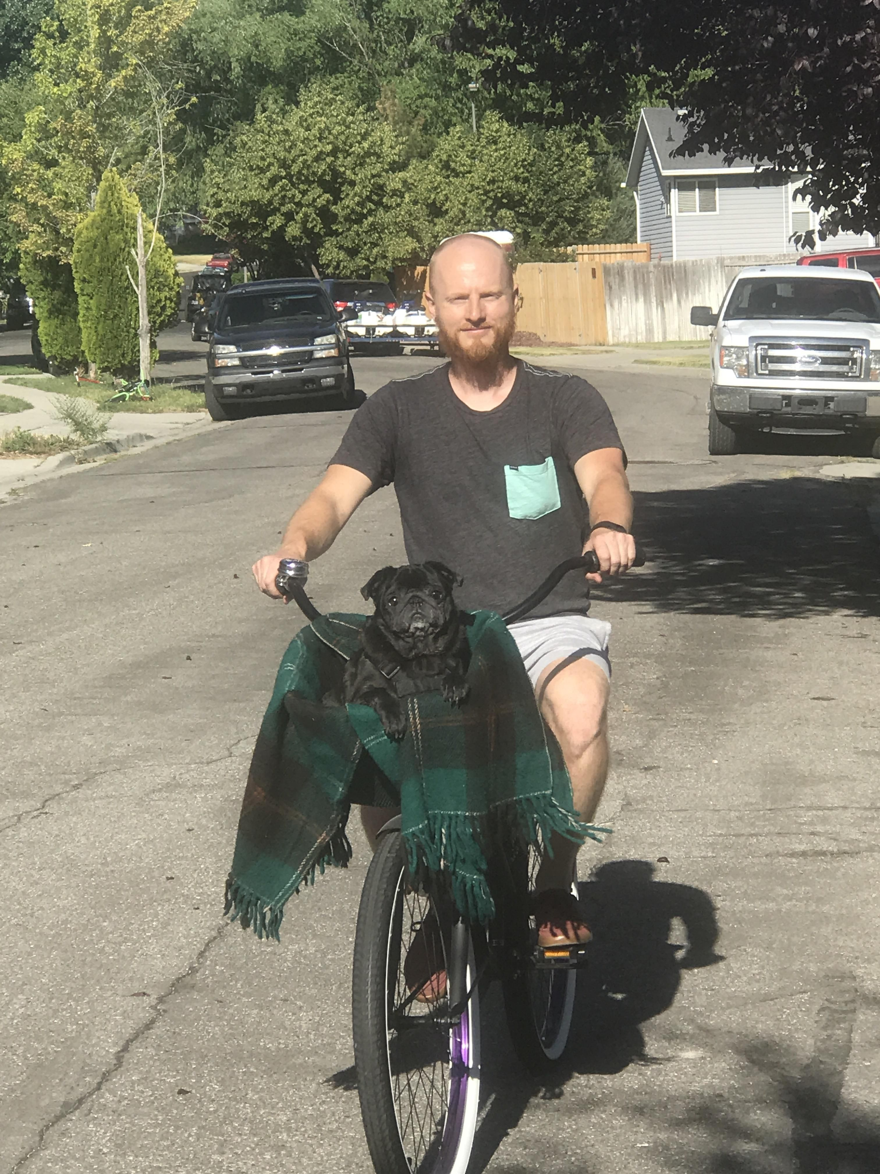 I see your dessert cats and am going all in with my pug on a bike ride!!