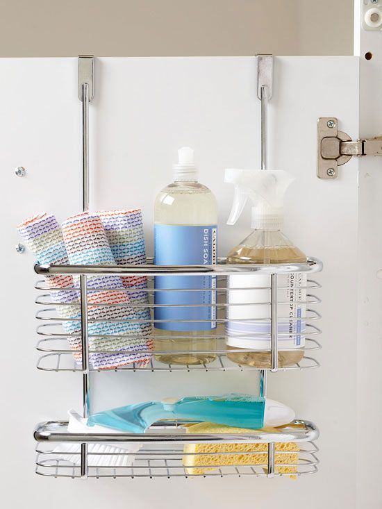 Use behind-the-door organizer as cleaning-supply central. Wire shelves promote air circulation, helping sponges to dry.