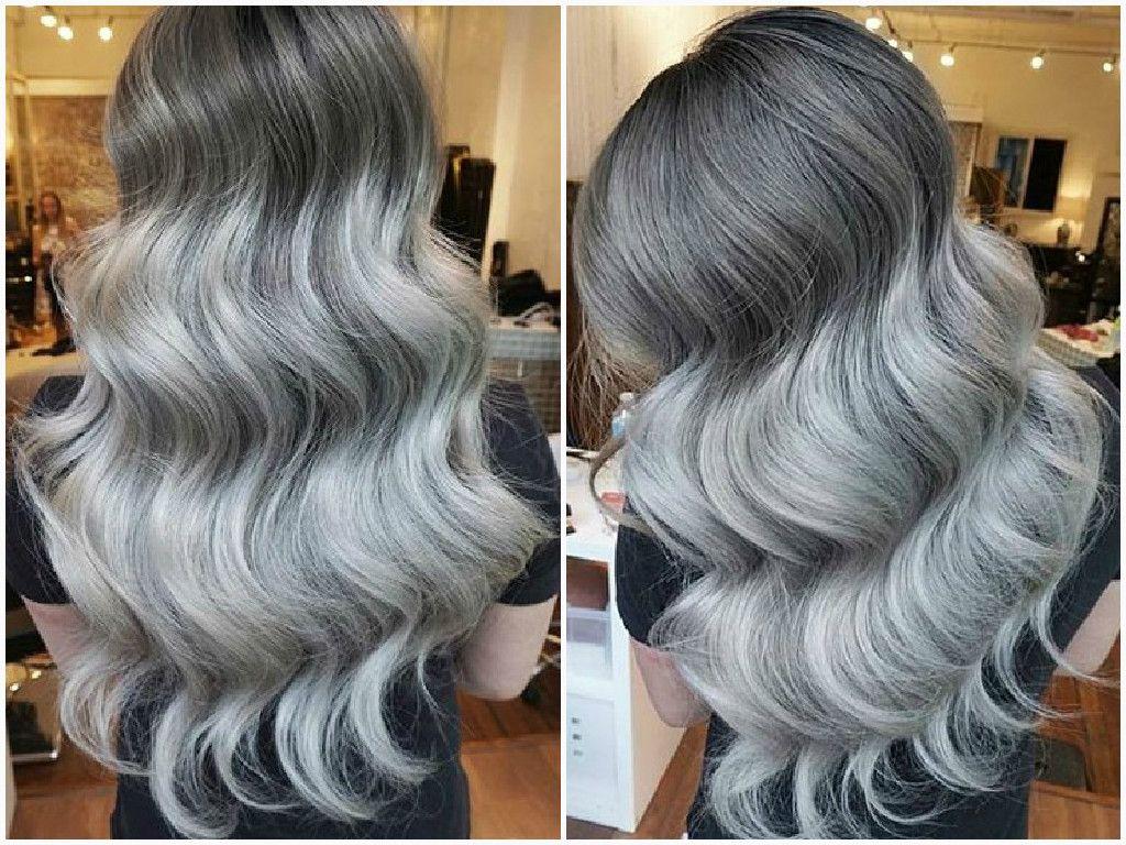 gray silver color melt hair
