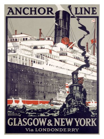 Vintage Anchor Shipping Line Glasgow to Canada Poster A3 Reprint
