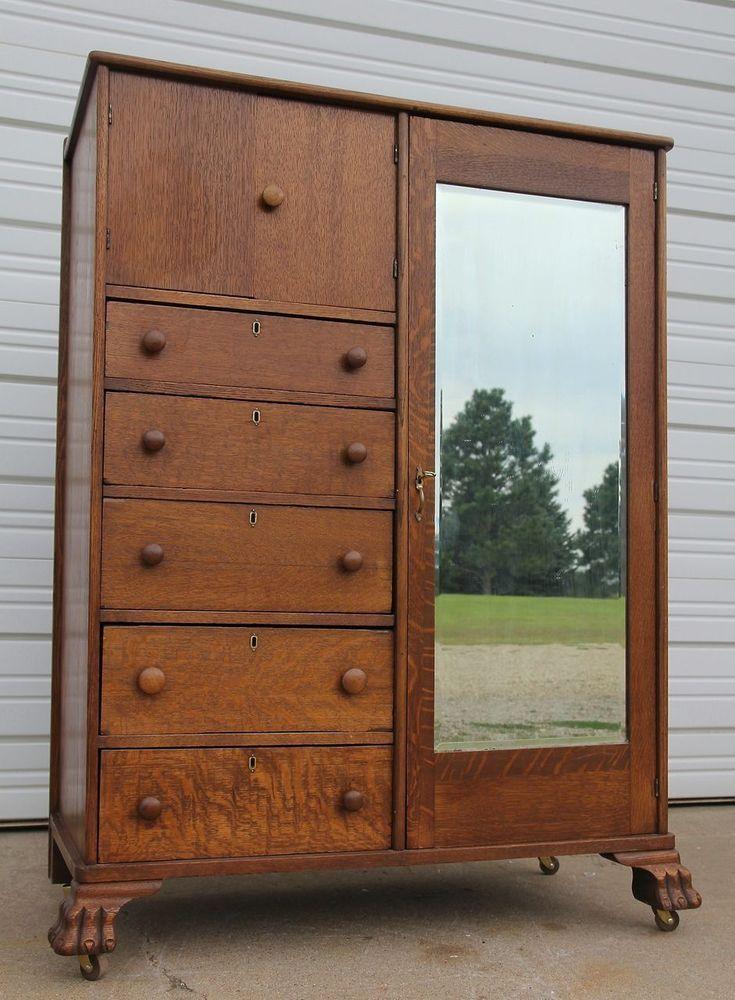 Attirant Antique Oak Clawfoot Mirrored Chifferobe Wardrobe Armoire Top Hat Door 5  Drawers