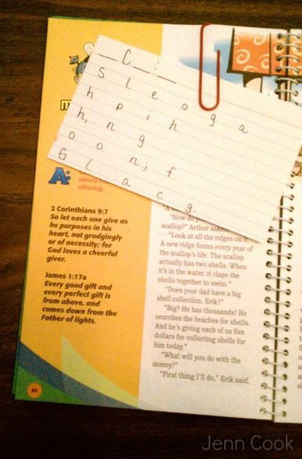Awana Scripture Memorization Tip Write the first letter of each
