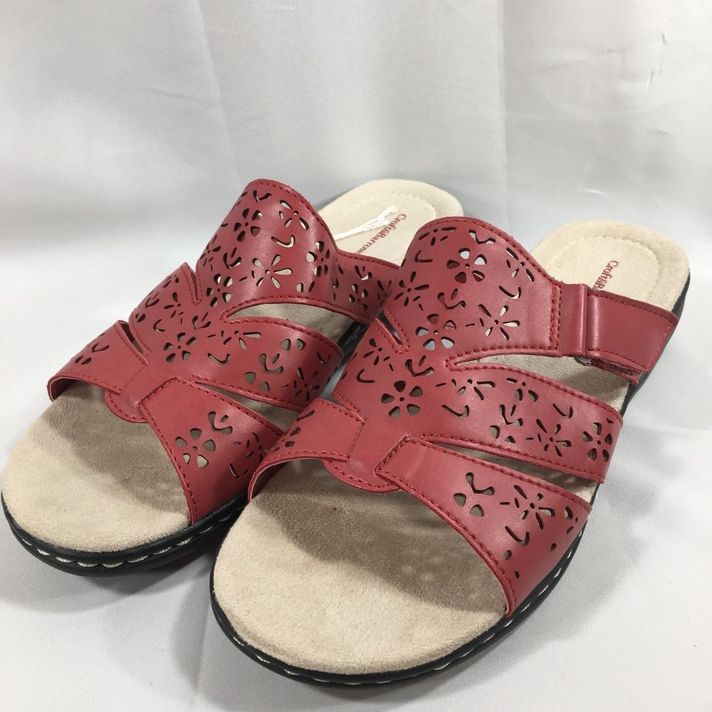 04978ec33a2a Croft   Barrow Red Cutout 3 Strap Slides Slip On Sandals Womens Size 8.5   CroftBarrow  Slides