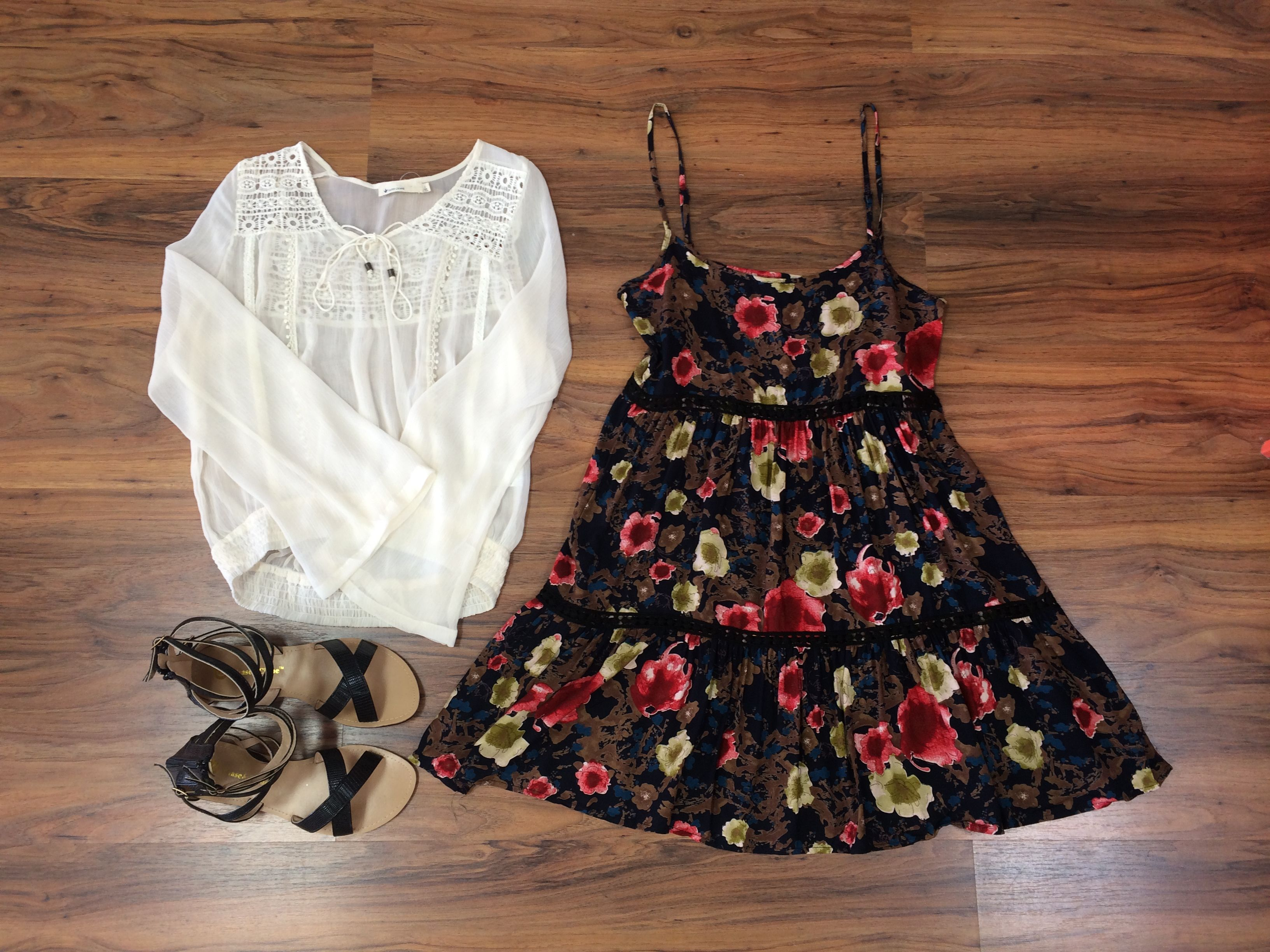 *NEW ARRIVALS* This floral dress with lace detail is STUNNING! If you like layering, you can use this ivory crotchet top! Tons of new items just hit the floor today so be sure to come check them out! #StyledByPaula