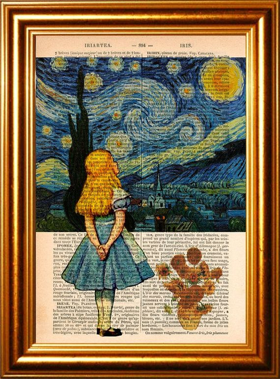 Alice meets Vincent Van Gogh's Starry Night  & Sunflowers on upcycled 1890's French Dictionary Page #collageboard