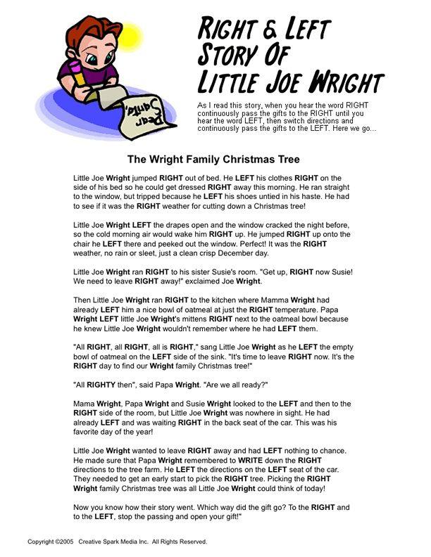 Wright family christmas gift exchange game