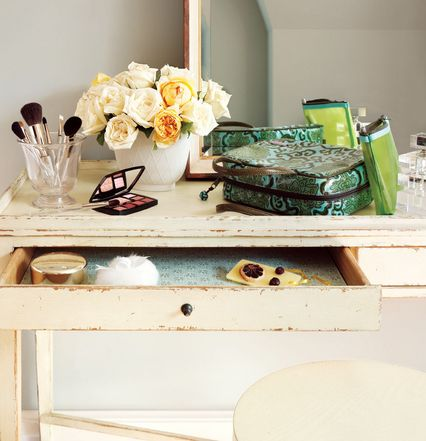 Desk used as a vanity table | Nest Ideas | Pinterest | Vanity ...