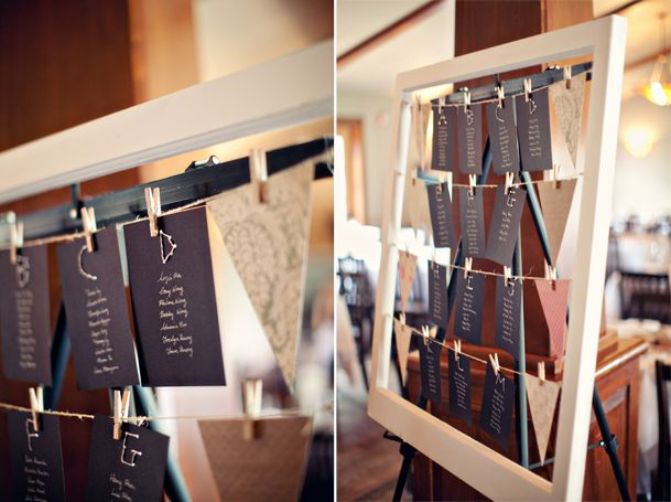 Seating table chart made with old window frame, frame hooks and ...