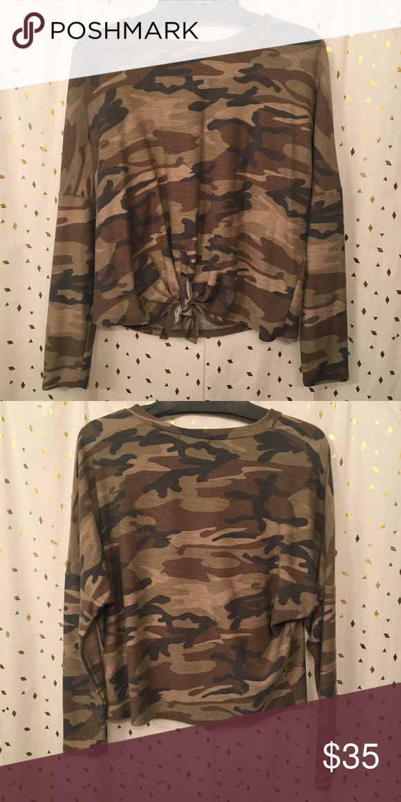 Camo sweater with tie in front Never worn, very cute, fits loose, very light weight fabric, almost like a t-shirt material Tops Tees - Long Sleeve