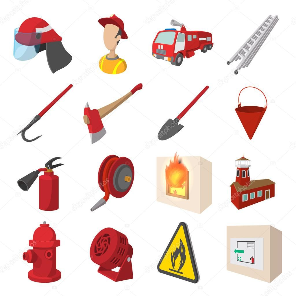 7f81257984f9 Set de iconos de dibujos animados de bomberos aislado sobre fondo blanco