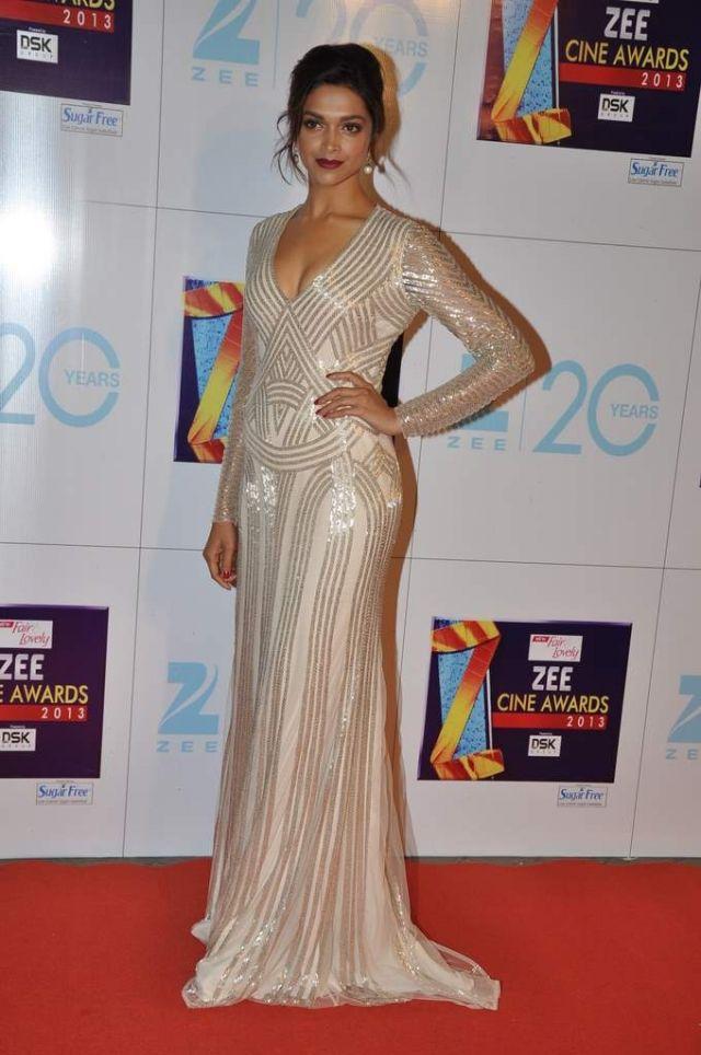 In Naeem Khan, Padukone attends the Zee Cine awards in January 2013.