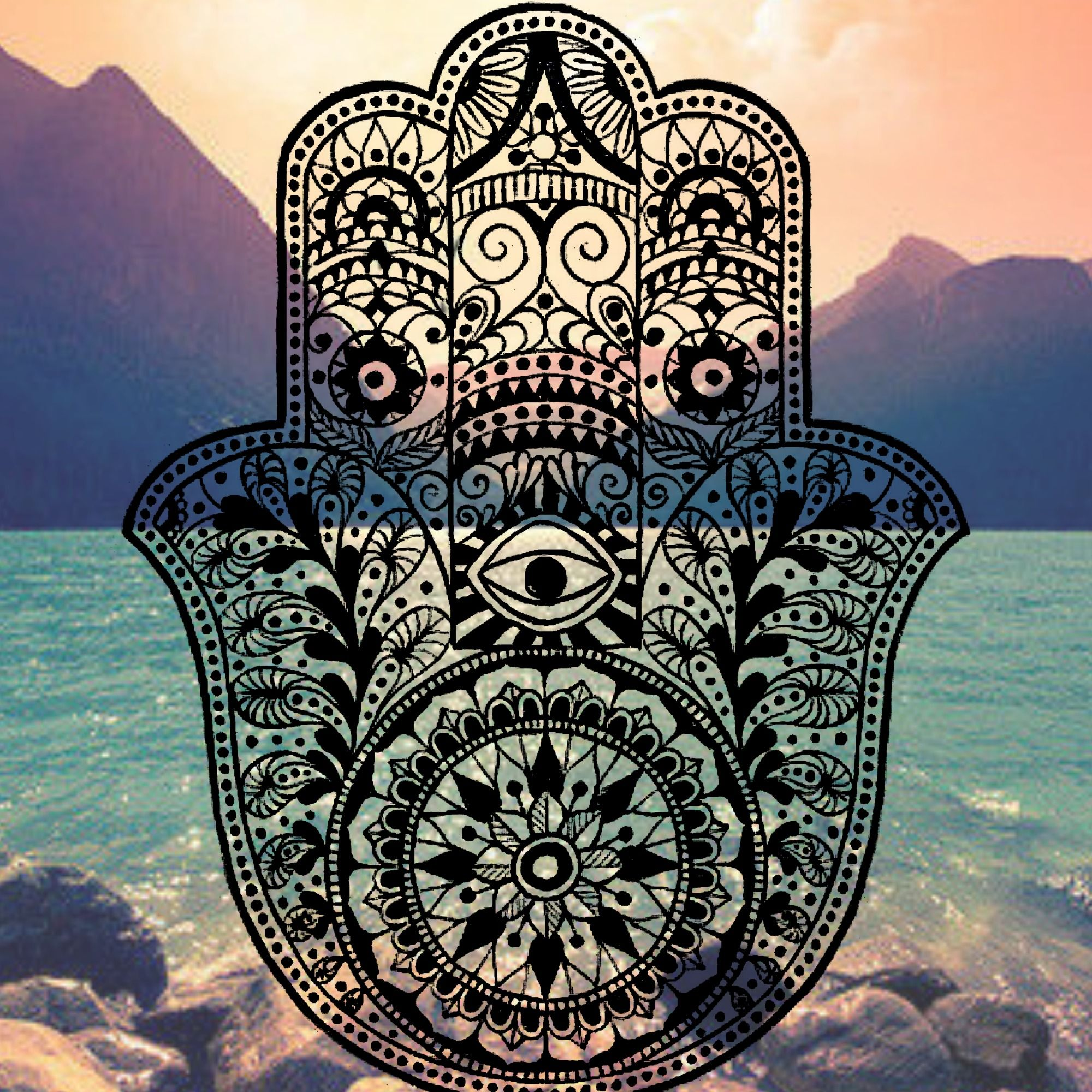 Wallpaper iphone mandala - Hamsa Iphone Background Mountain Ocean Tumblr Evil Eye Hams Hand Henna