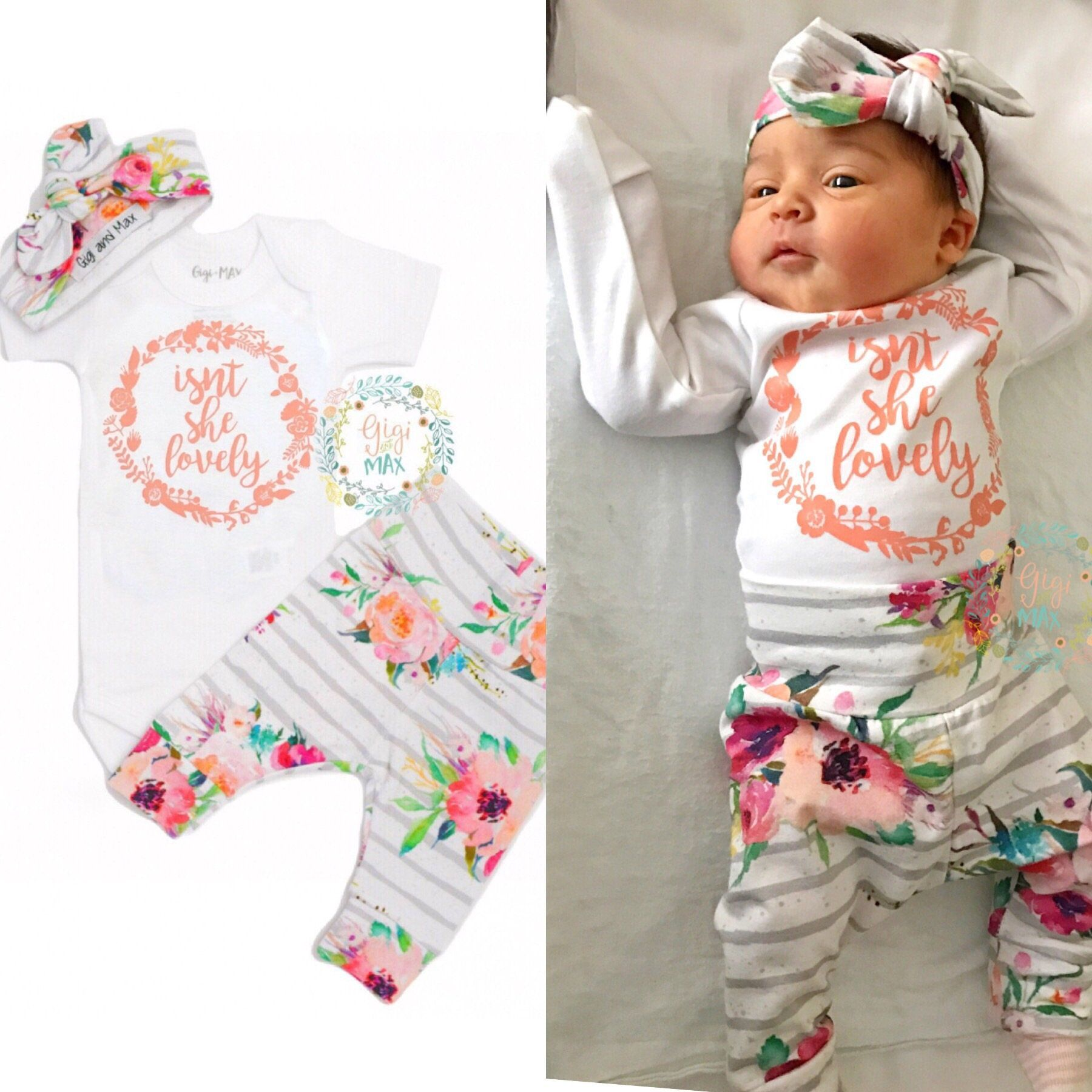 Super Adorable And Makes A Great Gift Or Coming Home Outfit Floral Baby Girl 2 Piece Bodysuit Pant Set
