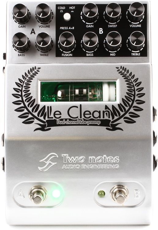 Two Notes Le Clean 2 Channel U S Tones Tube Preamp Pedal Guitar Pedals Pedal Guitar Effects