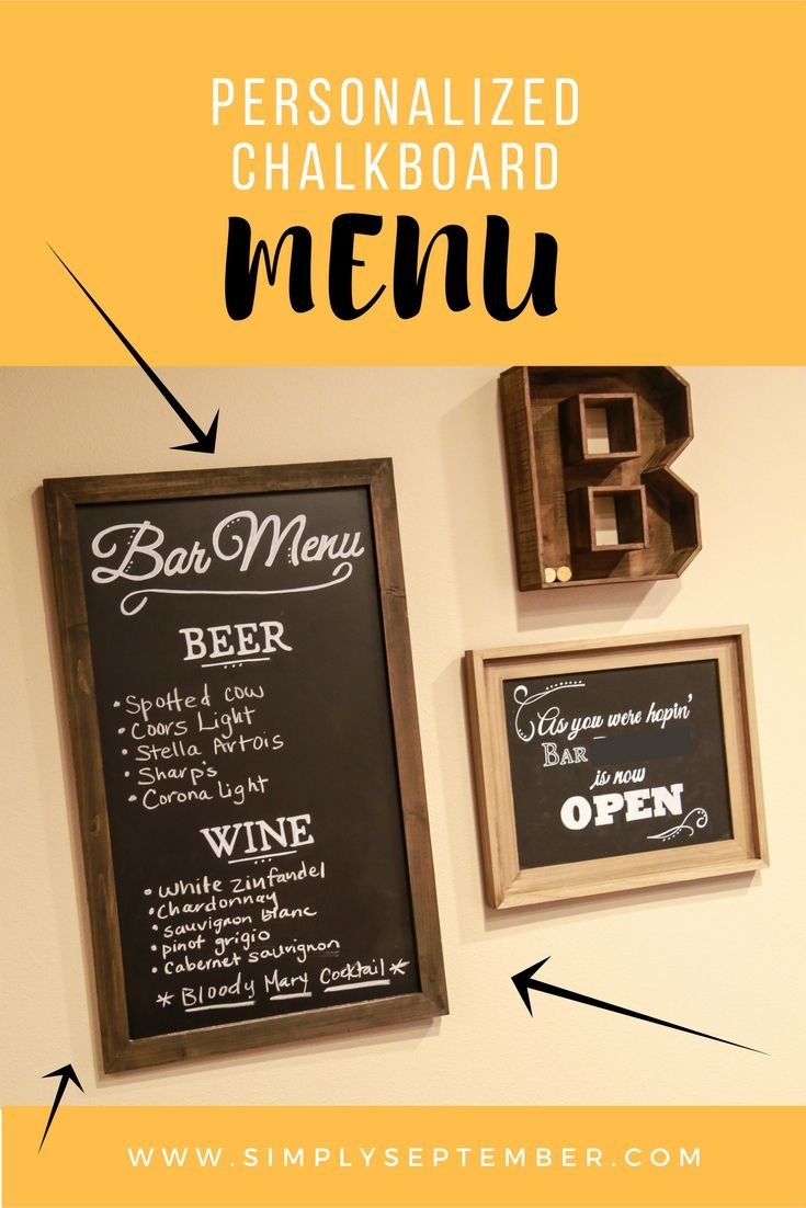 Personalized Chalkboard Menu | Chalkboards, Menu and Stylish