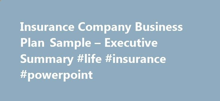 Insurance Company Business Plan Sample Executive Summary Life
