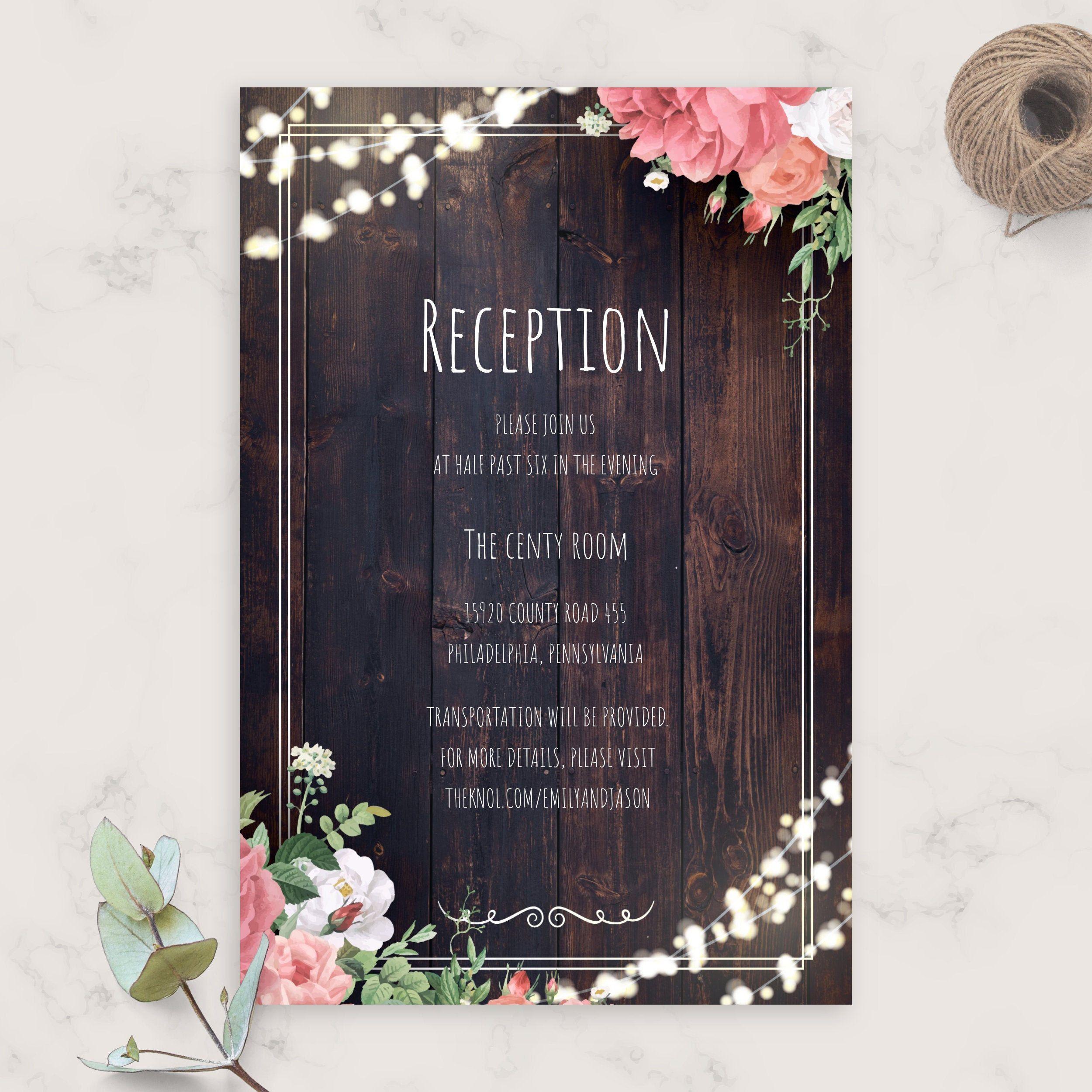 Diy Printable Wedding Reception Guest Template In 2020 Wedding Invitation Enclosure Cards Wedding Reception Cards Diy Wedding Invitations Templates