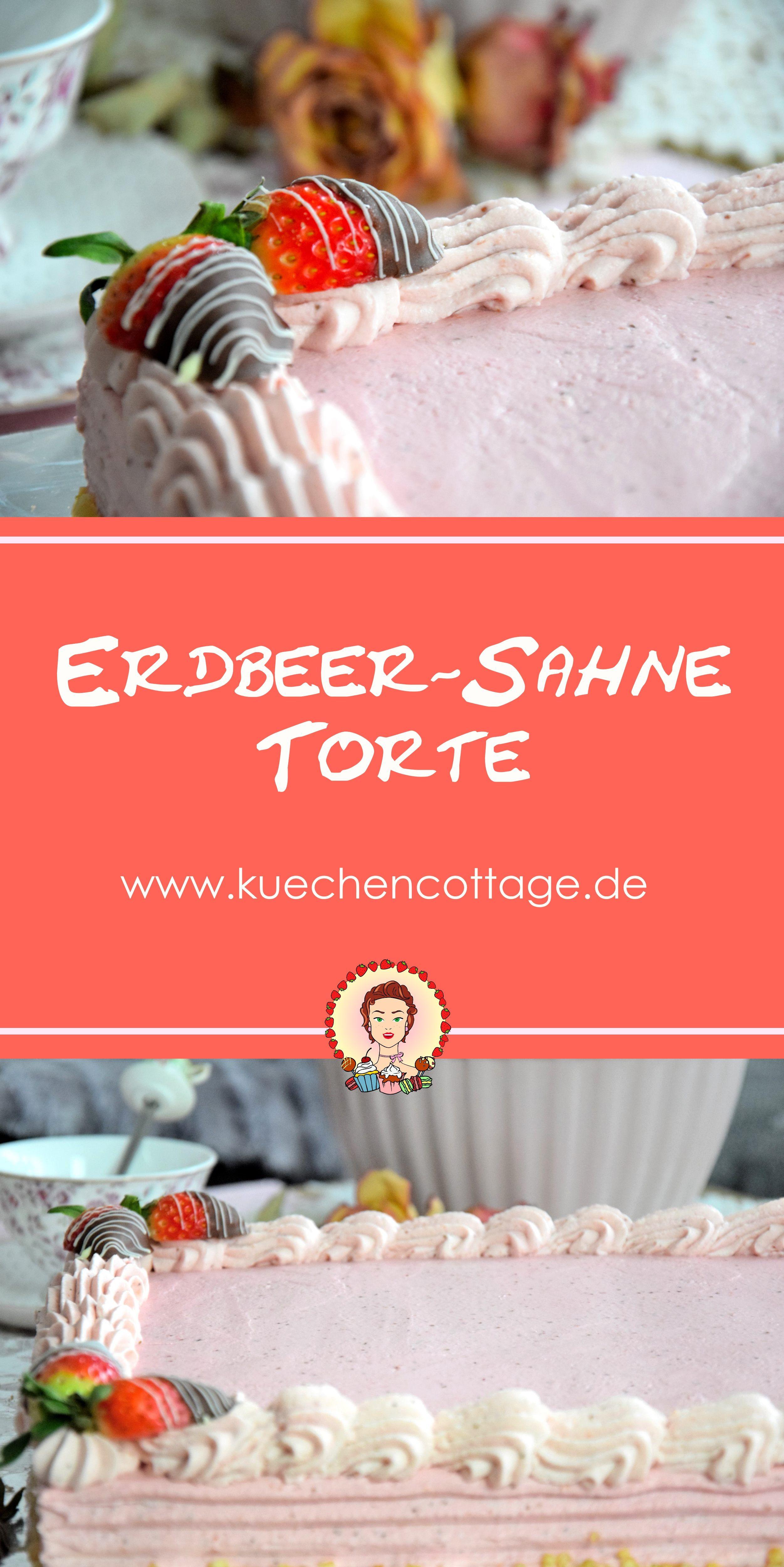 Erdbeer-Sahne-Torte | Pinterest | Erdbeer sahne torte, Erdbeertorte ...