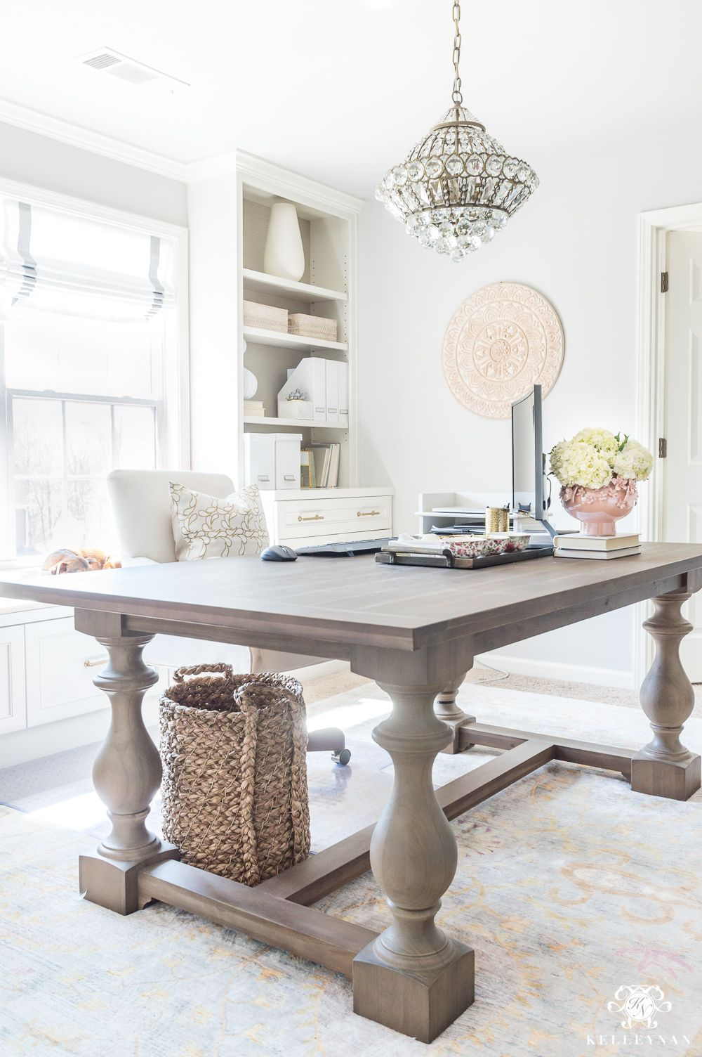 Home Office With Large Table Desk Ideas Natural Home Decor Home