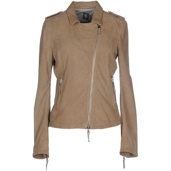 Eleventy Jacket (335 JOD) ❤ liked on Polyvore featuring outerwear, jackets, khaki, genuine leather biker jacket, collar leather jacket, multi pocket jacket, leather biker jacket and brown jacket