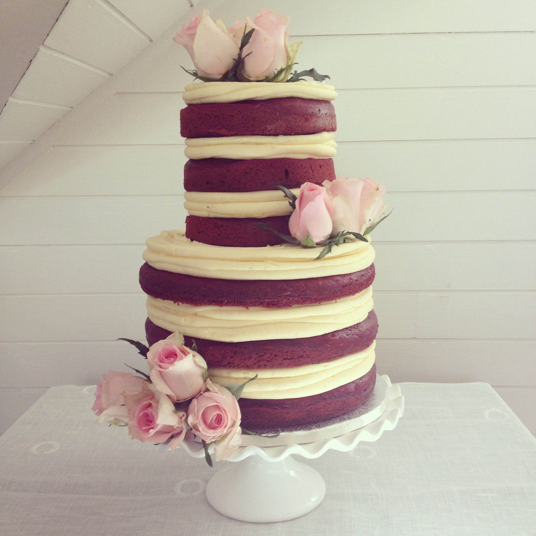 Three Tier Red Velvet Vanilla Frosting Lemon Curd Cake By The Birdcage