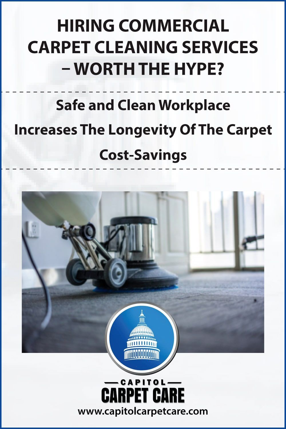 Professional carpet cleaners help in the office's maintenance. Experienced professionals have the knowledge to deal with all types of carpets. If you plan to hire top-rated commercial carpet cleaners in Bryans Road, MD then Capitol Carpet Care is the right one for you.  Schedule an appointment today by calling at 757 777 2902.  #carpetcleaning #carpetcleaners #carpetcleaningservice #professionalcarpetcleaning #bestcarpetcleaningcompanynearme #carpetcleaninginmaryland
