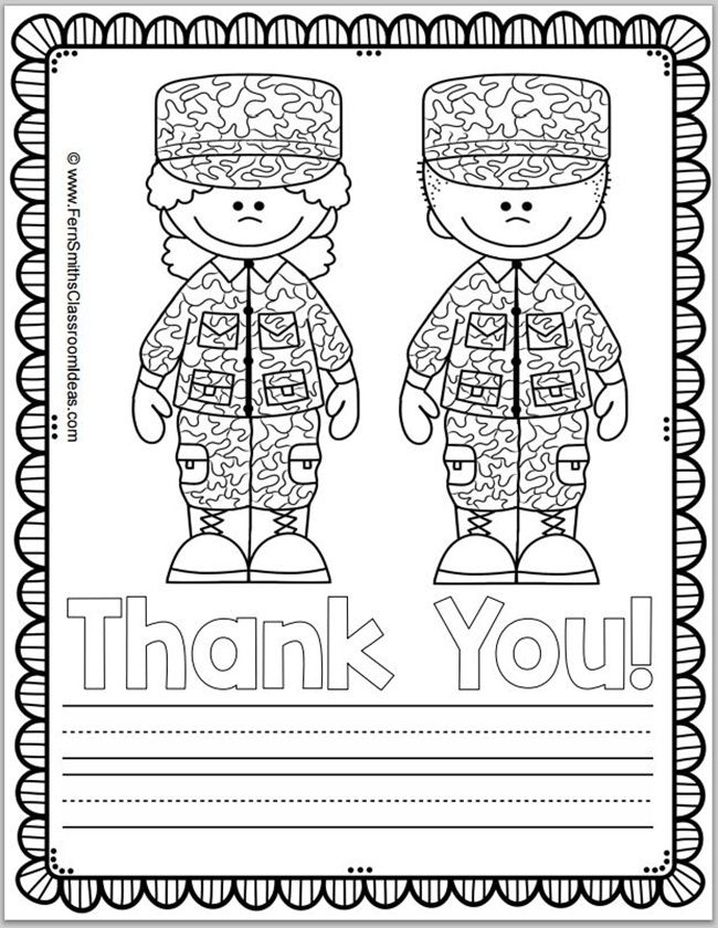 Free Memorial Day Coloring Page and Thank You Notes | Troops ...