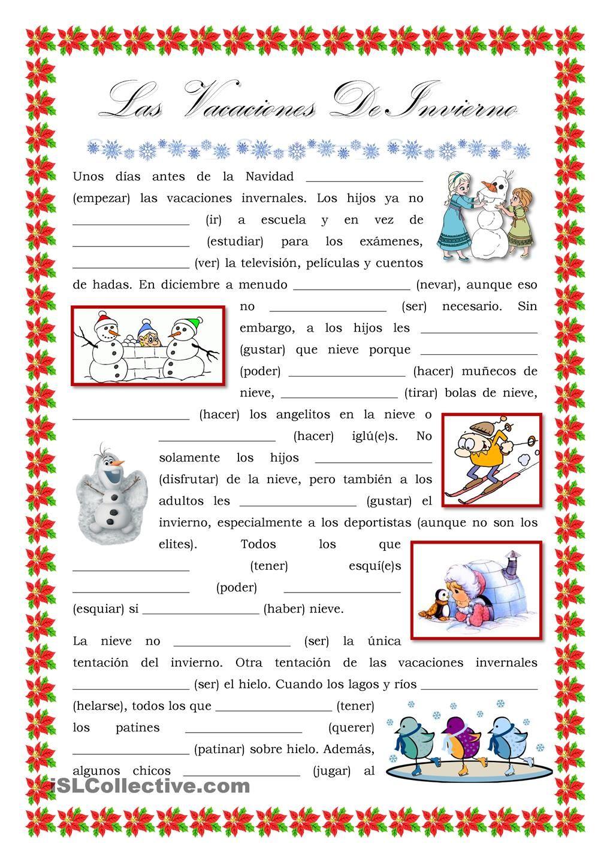 las vacaciones de invierno verbos navidad actividades escolares pinterest spanish. Black Bedroom Furniture Sets. Home Design Ideas