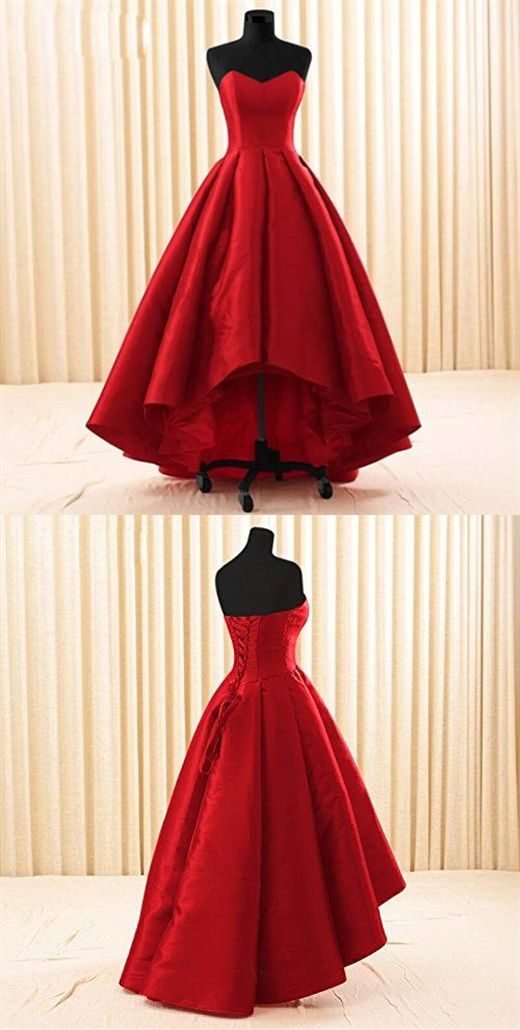 Women Sweetheart Short Front Long Back A Line High Low Prom Dress