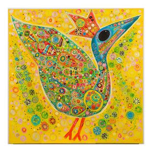 Suzanne Furlong Kiggins Yellow Bird with Flowers Print...Wonderful art for the home!!