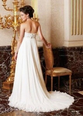 Nuevo-imperio-cintura-Noble-pregnant-maternity-Vestido-De-Novia-white-ivory-tamano-personalizado