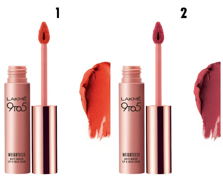 Lakme 9 to 5 Weightless Matte Mousse Lip and Cheek ColourFLUFF (left), Lakme 9 to 5 Weightless Matte Mousse Lip and Cheek Colour PLUM FEATHER (right)