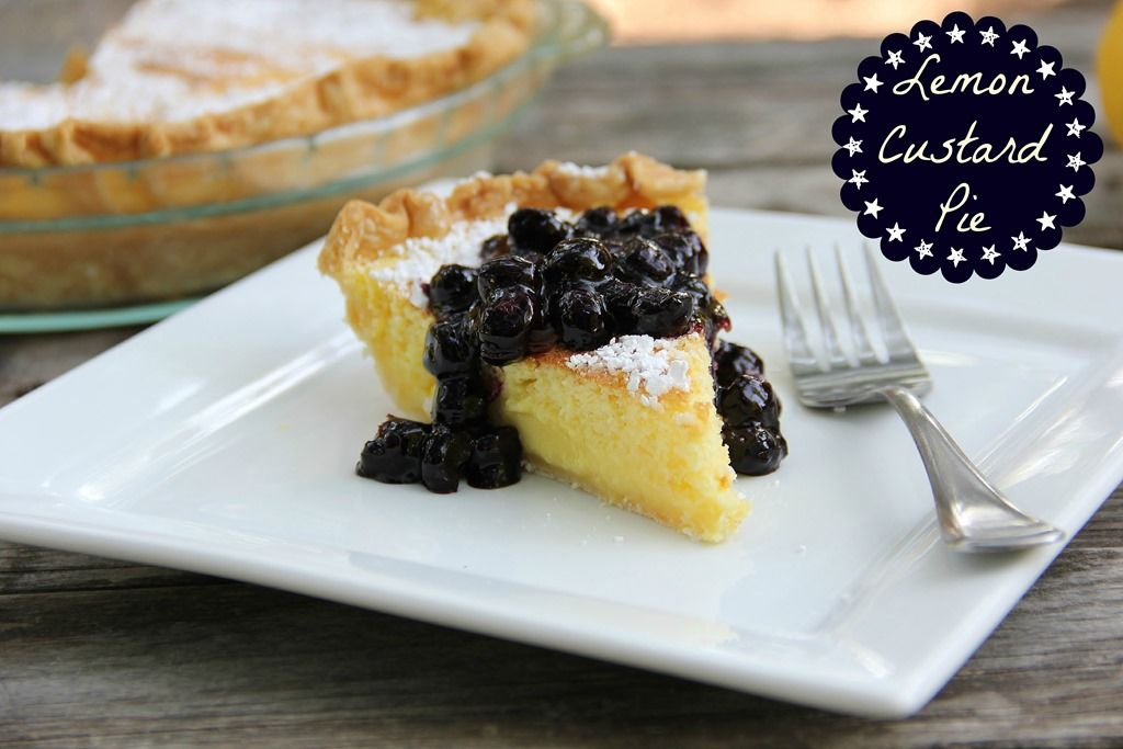 Lemon Custard Pie with Blueberry Sauce