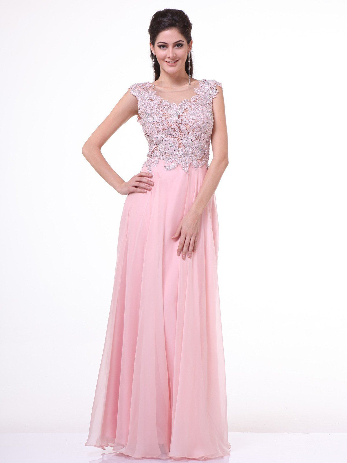 Embellished Illusion Evening Dress by Cinderella Divine CJ1022