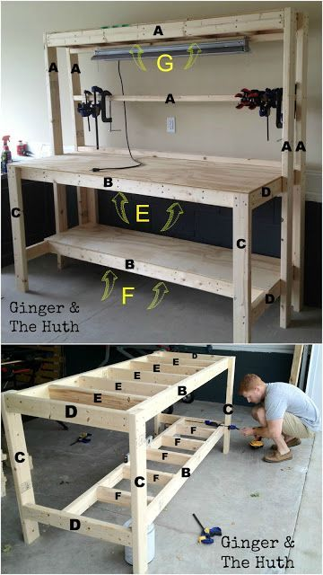 How to build a diy wood workbench super simple 50 bench lights after doing our first few small projects we decided we needed an official work station for our future projects we found a simple work bench tutorial at the greentooth Image collections