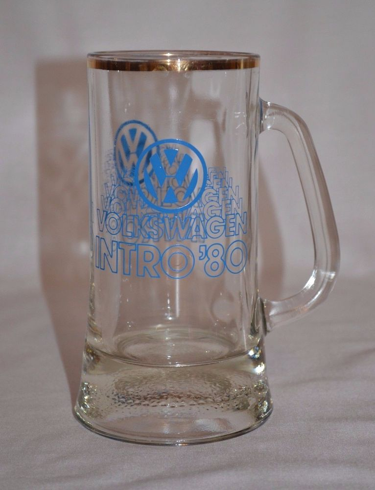 VINTAGE VOLKSWAGEN INTRO '80 TALL CLEAR GLASS MUG 1980 ~ BLUE LOGO GOLD RIM