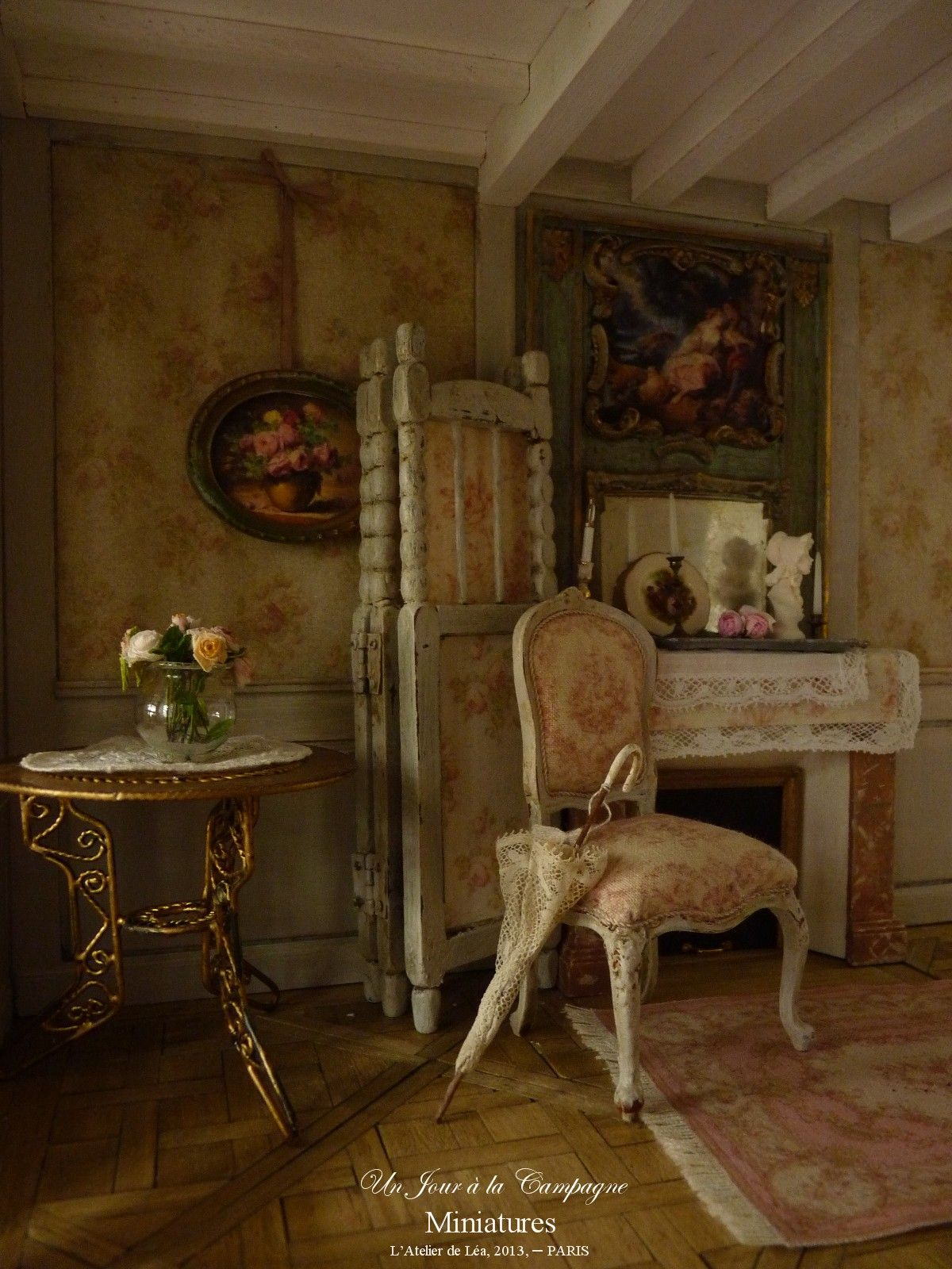 atelier de l a un jour la campagne le salon romantique parquet versailles boiseries. Black Bedroom Furniture Sets. Home Design Ideas
