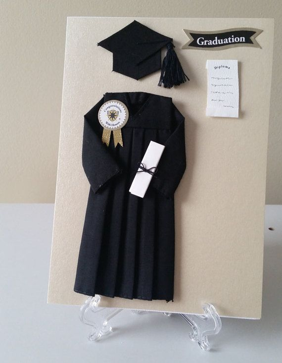 Handmade graduation cap and gown greeting card - Graduation gift for interior design student ...