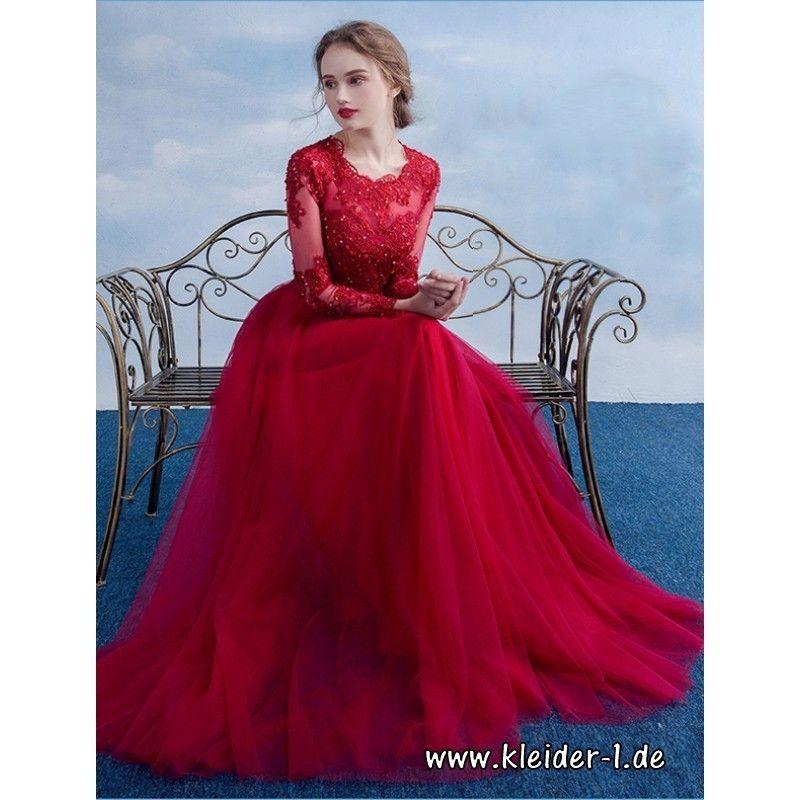 Langarm Abendkleid 2019 Abeda Mit Spitze In Rot Abendkleider Elegant Rote Hochzeitskleider Ballkleider Lange Armel