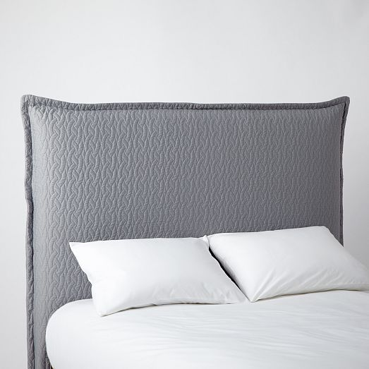 Matelasse Slipcover Headboard Feather Gray West Elm The