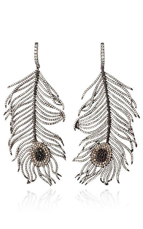 Diamond Feather Earrings By Niko Koulis