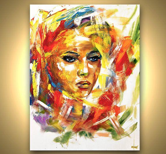 ORIGINAL Modern Portrait Acrylic Painting on by OsnatFineArt