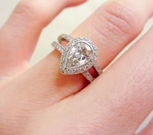 Pear Shaped Pave Set Diamond Ring Pear Shaped Engagement Rings Antique Engagement Rings Vintage Pear Engagement Ring