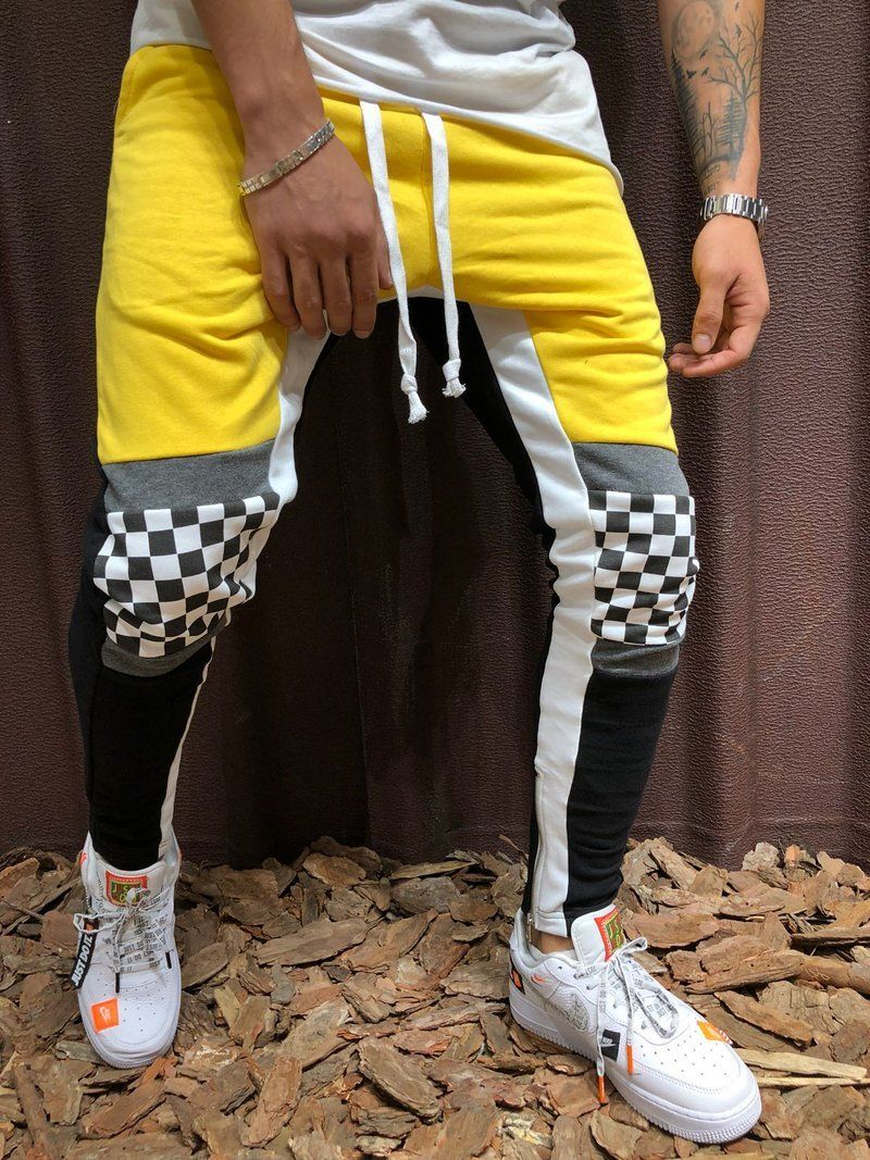 caa67bc1c Men Slim Fit Casual Checkered Knee Sweatpants Joggers - Yellow 3954 ...