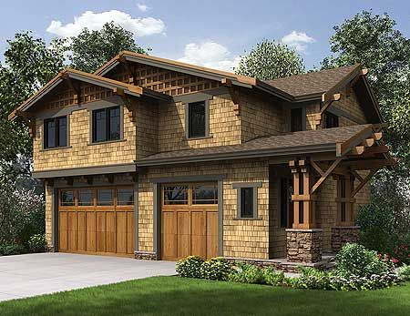 Rustic Carriage House Plan - 23602JD | Carriage, Craftsman, Northwest, Narrow Lot, 2nd Floor ...