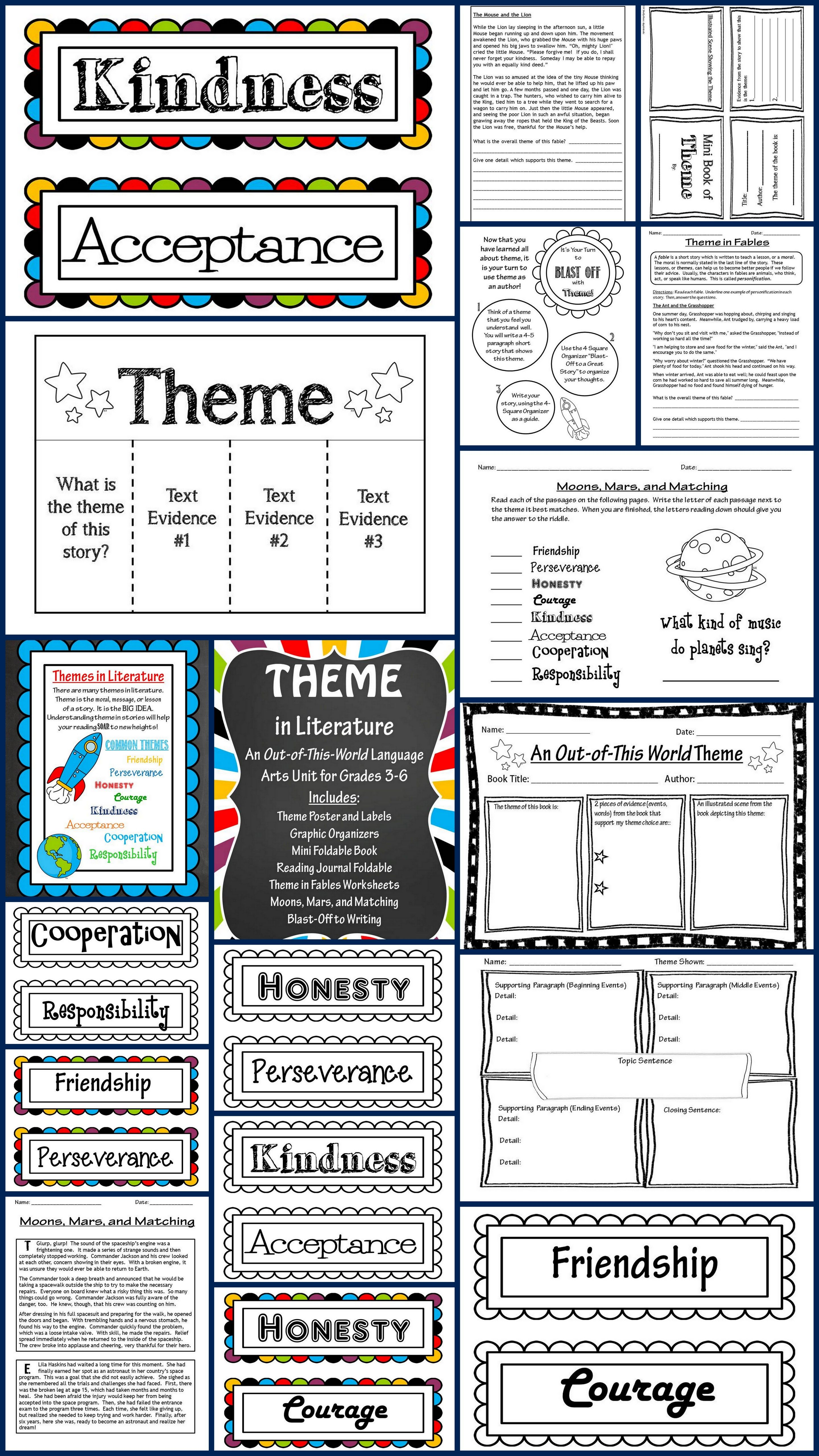 Teaching Theme in Literature Unit! Huge packet contains theme labels,  Common Core Posters, I Can Posters, Foldables, Mini Book, Theme Matching  Activity, ...