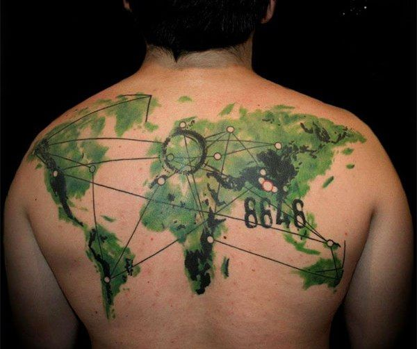 Green Watercolor Tattoo On Upperback Ideas And Designs