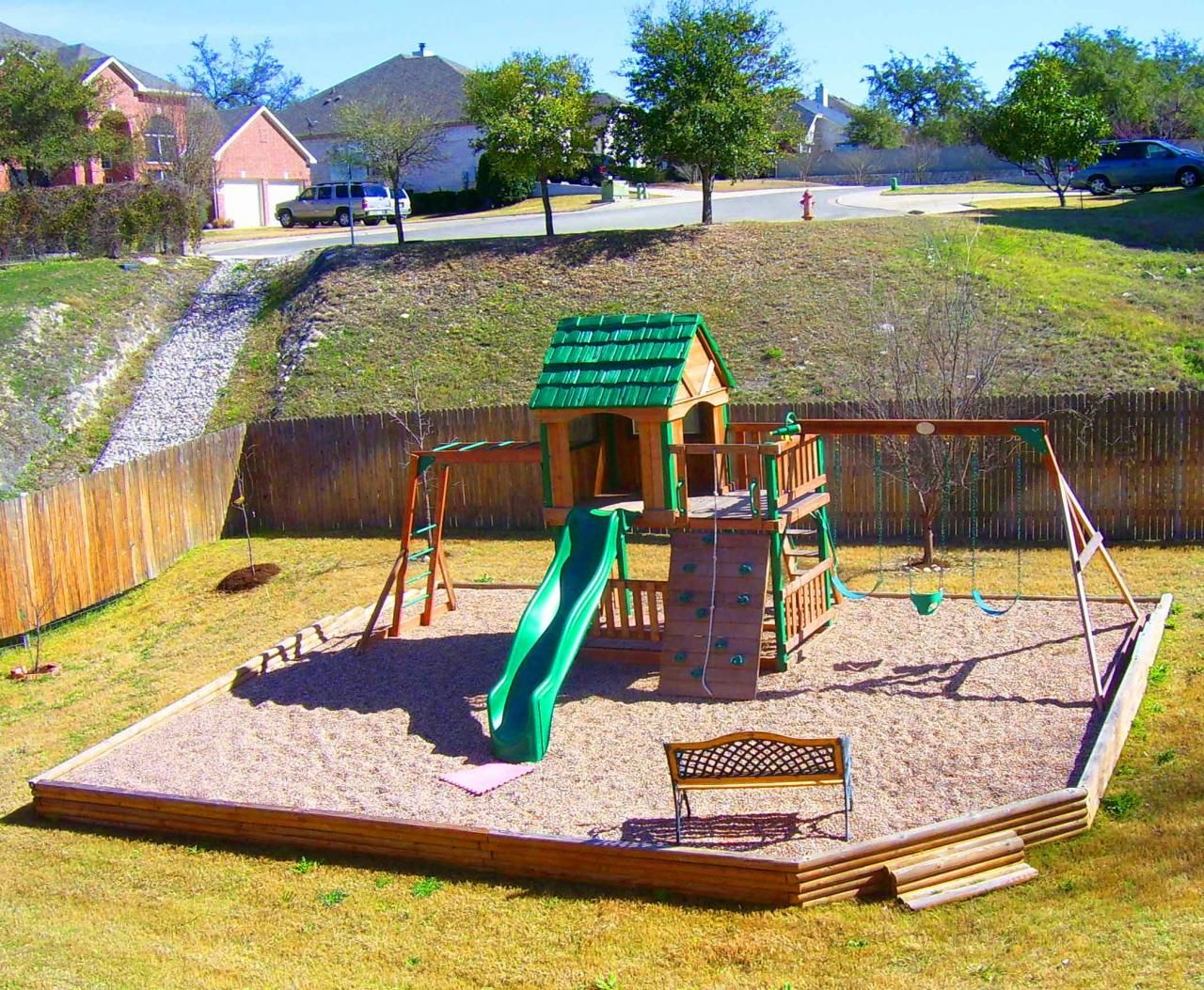Pea gravel play area in backyard everlast contracting co for Play yard plans