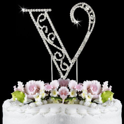 romanesque swarovski crystal wedding cake topper small letter v be sure to check out this awesome product