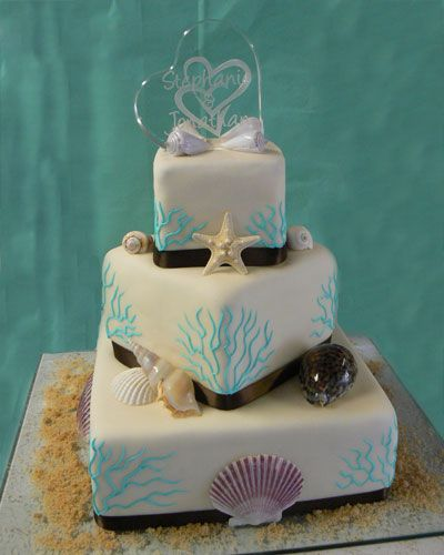 Beach Wedding Food Ideas: Beach Theme Wedding Cake With Blue Coral Piping In 2019